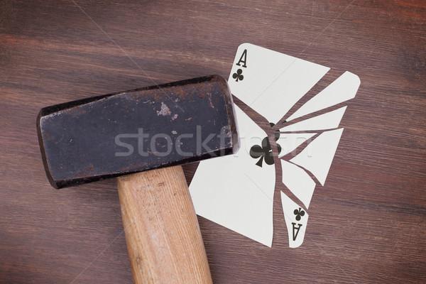 Marteau brisé carte ace vintage Rechercher Photo stock © michaklootwijk