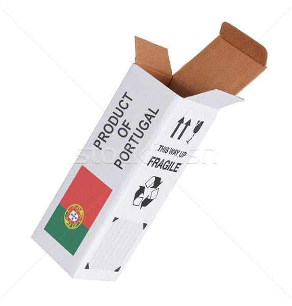Exporter produit Portugal papier boîte Photo stock © michaklootwijk