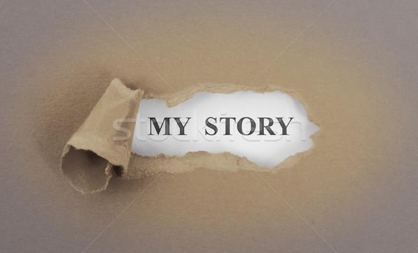 Szöveg mögött szakadt barna enyém történet Stock fotó © michaklootwijk