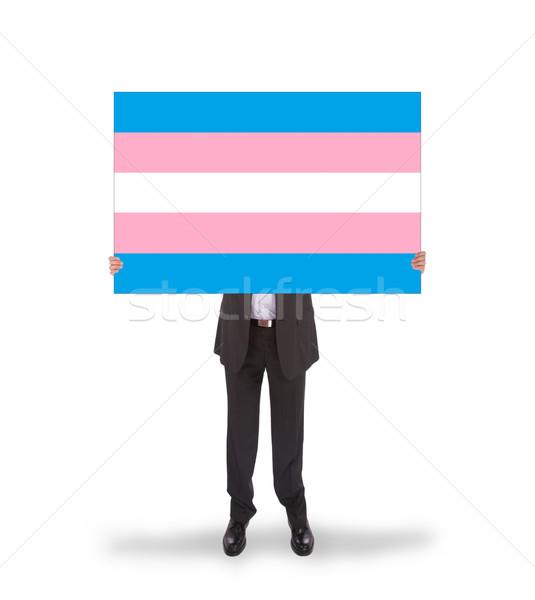 улыбаясь бизнесмен большой карт флаг Сток-фото © michaklootwijk