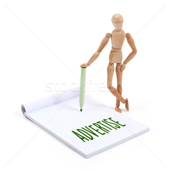 木製 マネキン 書く アドバタイズ スクラップブック 紙 ストックフォト © michaklootwijk