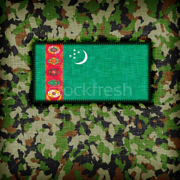 álca egyenruha Türkmenisztán zászló absztrakt zöld Stock fotó © michaklootwijk
