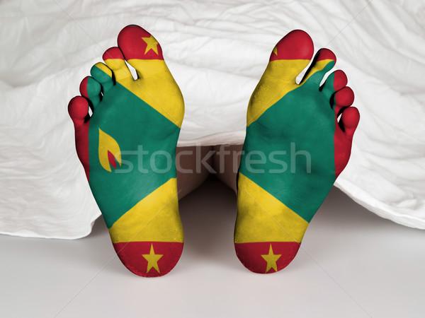 Voeten vlag slapen dood Grenada vrouw Stockfoto © michaklootwijk
