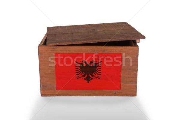 Stockfoto: Houten · geïsoleerd · witte · product · Albanië