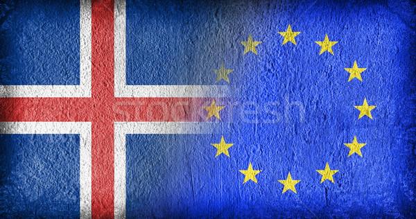 Izland EU zászlók festett repedt beton Stock fotó © michaklootwijk
