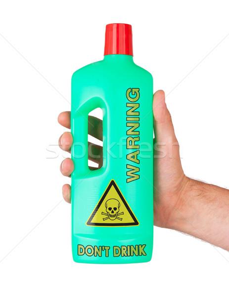 Foto stock: Plástico · botella · venenoso · aislado · blanco · habitación