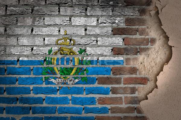 Dark brick wall with plaster - San Marino Stock photo © michaklootwijk