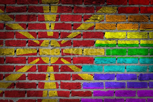 темно кирпичная стена правые Македонии текстуры флаг Сток-фото © michaklootwijk