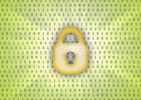 Soyut ikili kod kilitlemek ikon bilgisayar Internet Stok fotoğraf © michaklootwijk