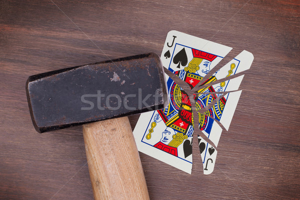 Foto stock: Martelo · quebrado · cartão · spades · vintage · veja