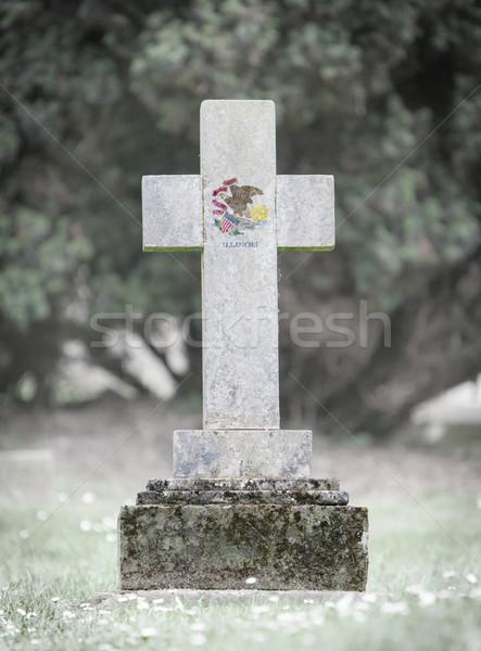 墓石 墓地 イリノイ州 古い 風化した フラグ ストックフォト © michaklootwijk