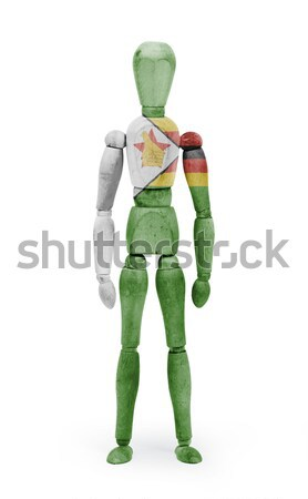 Wood figure mannequin with flag bodypaint - Zimbabwe Stock photo © michaklootwijk