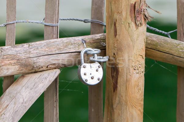 Locked wooden fence Stock photo © michaklootwijk
