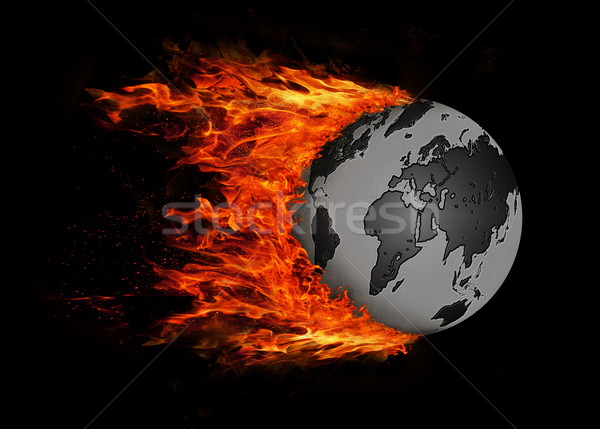World with a trail of fire - Black and grey Stock photo © michaklootwijk