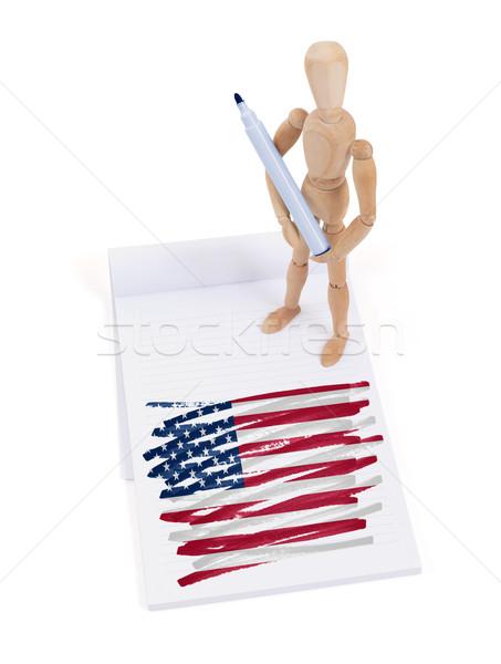Ahşap manken çizim ABD bayrak kâğıt Stok fotoğraf © michaklootwijk