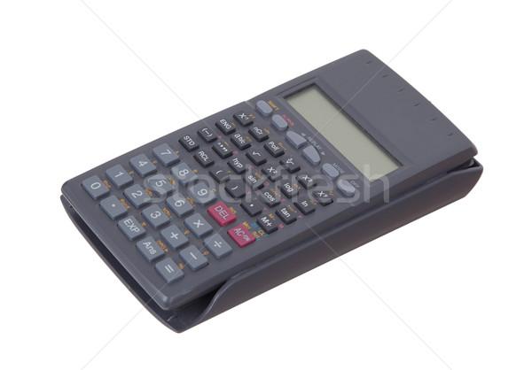 Foto stock: Sujo · velho · calculadora · isolado · branco · tecnologia