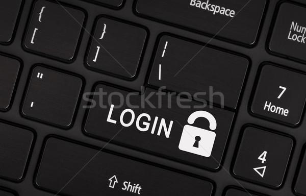 Czarny login przycisk nowoczesne działalności Zdjęcia stock © michaklootwijk