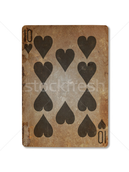 Very old playing card, ten of hearts Stock photo © michaklootwijk