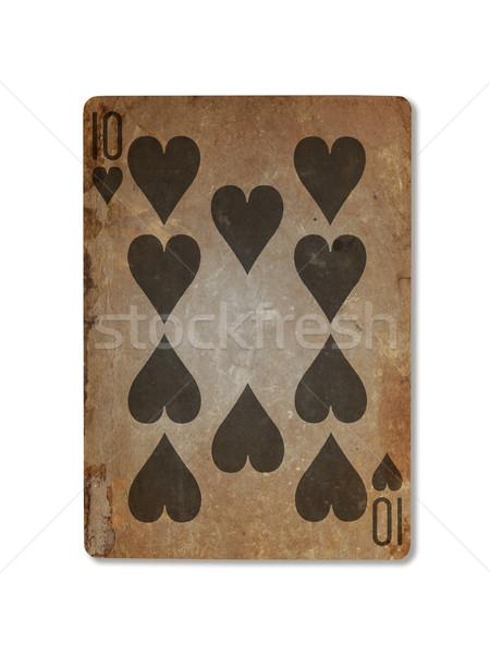 старые играет карт десять сердцах изолированный Сток-фото © michaklootwijk
