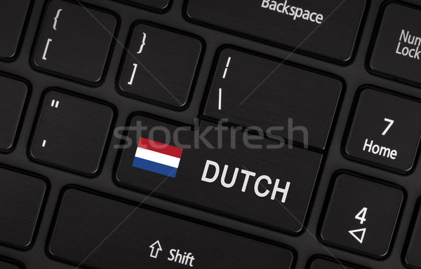Stock photo: Enter button with flag Netherlands - Concept of language