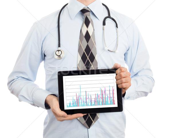 Lekarza tabletka wykres odizolowany biały Zdjęcia stock © michaklootwijk