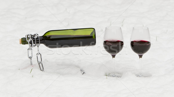 Bottle of red wine and wineglasses Stock photo © michaklootwijk