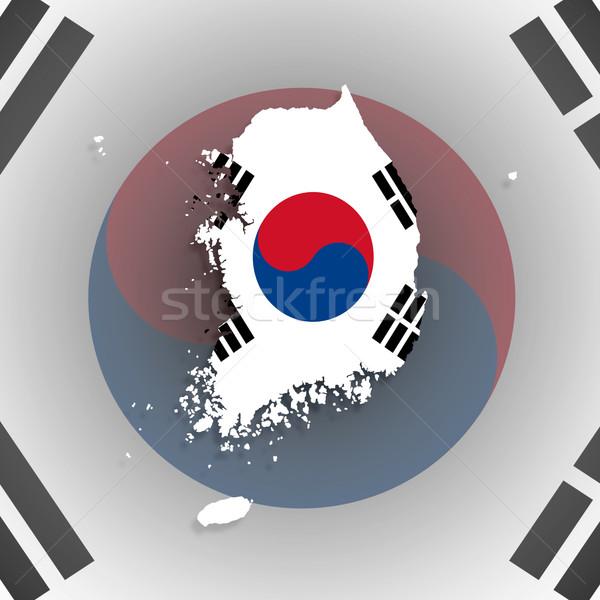 Mapa Corea del Sur aislado bandera dentro fondo Foto stock © michaklootwijk