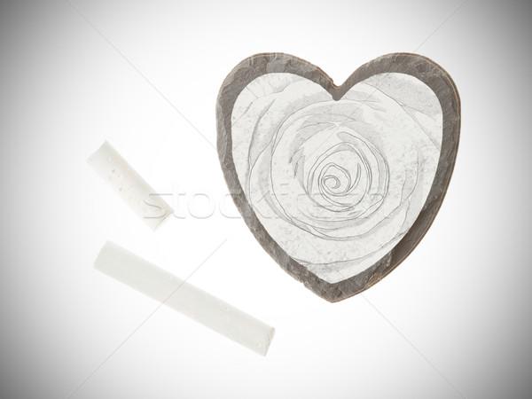 Heart shaped piece of slate Stock photo © michaklootwijk