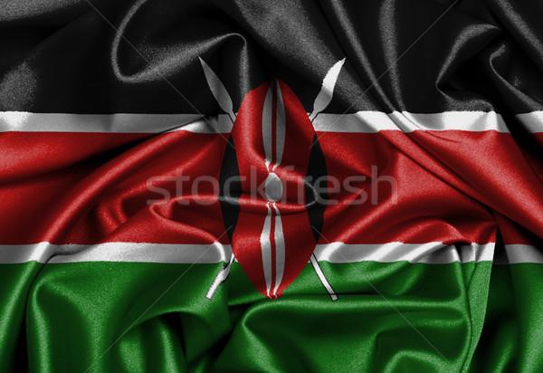 Szatén zászló háromdimenziós render Kenya textúra Stock fotó © michaklootwijk