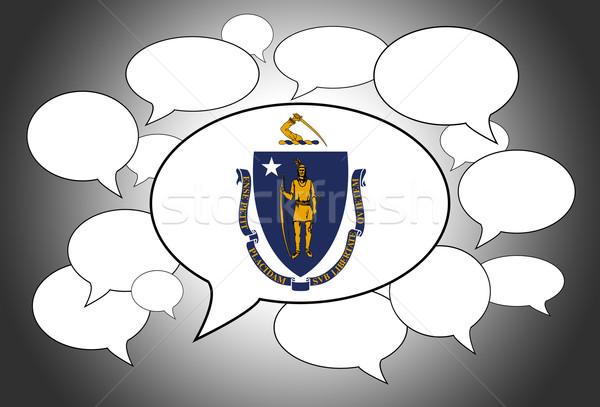 Kommunikáció beszédfelhő hang Massachusetts felirat zászló Stock fotó © michaklootwijk