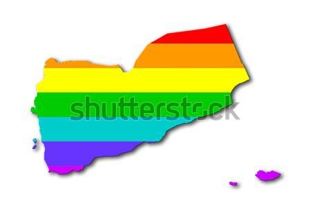 Тунис радуга флаг шаблон карта путешествия Сток-фото © michaklootwijk
