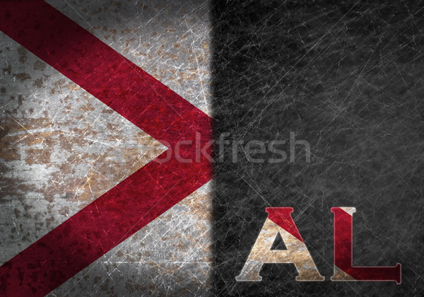 Old rusty metal sign with a flag and state abbreviation Stock photo © michaklootwijk