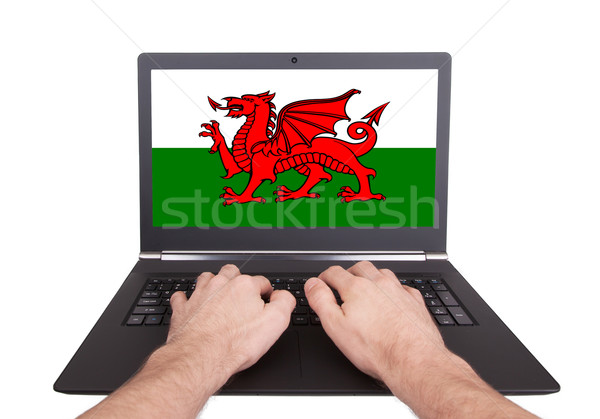 Hands working on laptop, Wales Stock photo © michaklootwijk