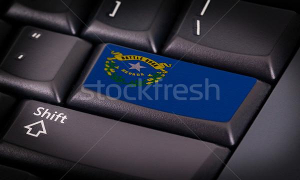 Zászló billentyűzet gomb Nevada terv laptop Stock fotó © michaklootwijk