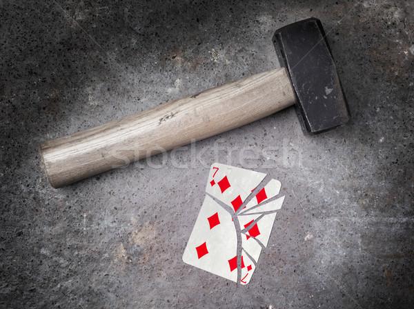 Martelo quebrado cartão sete diamantes vintage Foto stock © michaklootwijk