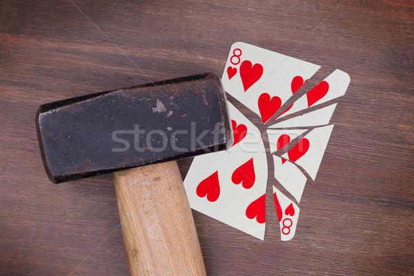 Hammer defekt Karte acht Herzen Jahrgang Stock foto © michaklootwijk