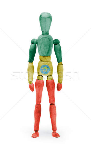 Wood figure mannequin with flag bodypaint - Ethiopia Stock photo © michaklootwijk