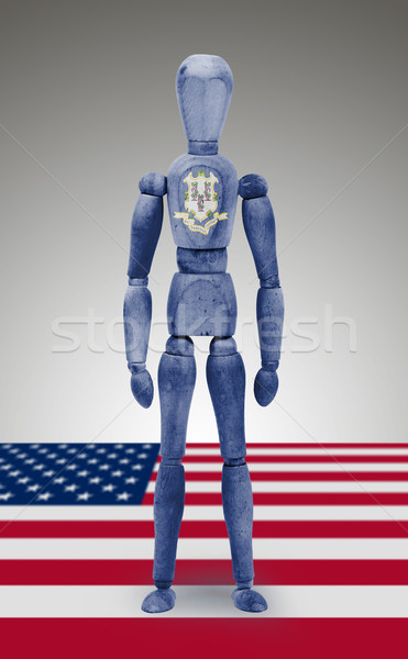 Wood figure mannequin with US state flag bodypaint - Connecticut Stock photo © michaklootwijk