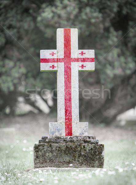 Sírkő temető Grúzia öreg viharvert fű Stock fotó © michaklootwijk