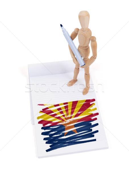 Houten etalagepop tekening Arizona vlag lichaam Stockfoto © michaklootwijk