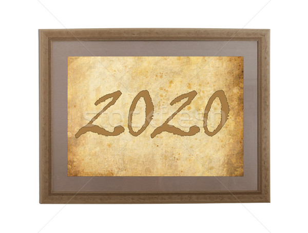 Old frame with brown paper - 2020 Stock photo © michaklootwijk