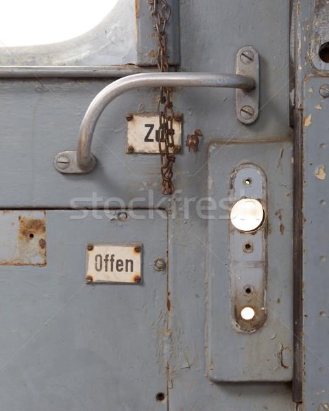 Vintage door on the train compartment Stock photo © michaklootwijk
