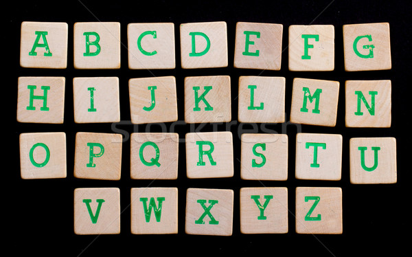Alphabet in letters on old wooden blocks Stock photo © michaklootwijk