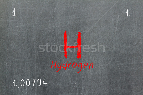 Isolated blackboard with periodic table, Hydrogen Stock photo © michaklootwijk