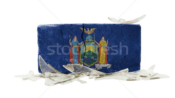 Stockfoto: Baksteen · gebroken · glas · geweld · vlag · New · York · muur