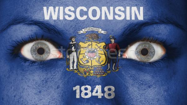 Közelkép szemek zászló festett arc Wisconsin Stock fotó © michaklootwijk