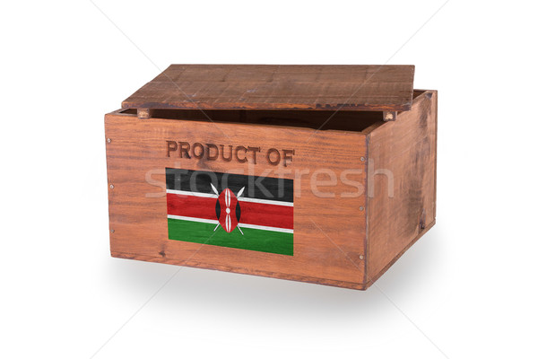 Fából készült láda izolált fehér termék Kenya Stock fotó © michaklootwijk