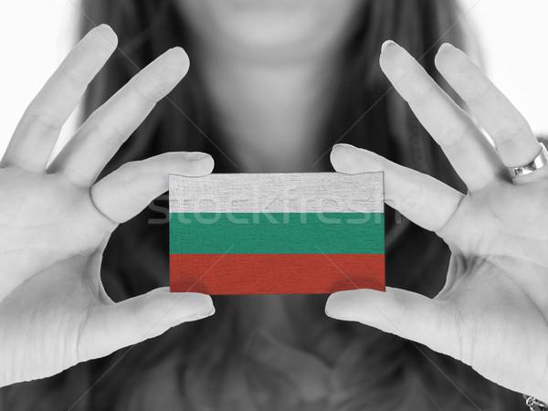 Stockfoto: Vrouw · tonen · visitekaartje · zwart · wit · Bulgarije · ruimte
