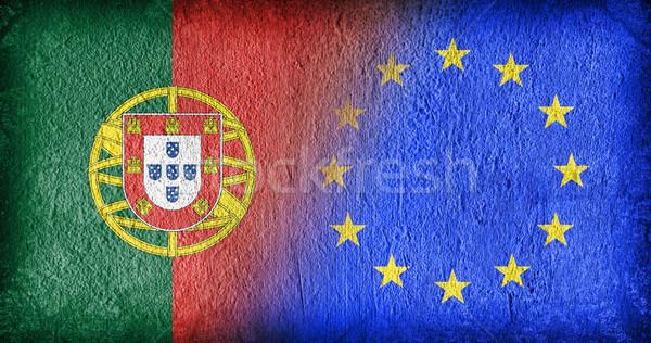 ポルトガル eu フラグ 描いた ひびの入った 具体的な ストックフォト © michaklootwijk