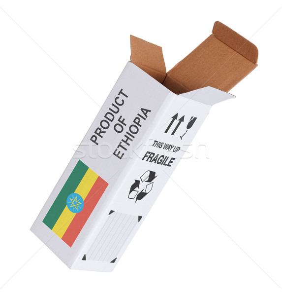 Export termék Etiópia kinyitott papír doboz Stock fotó © michaklootwijk